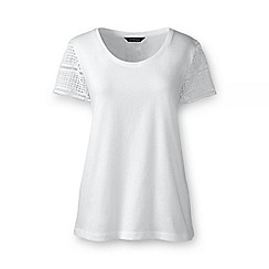 Lands' End - White regular lace sleeve tee
