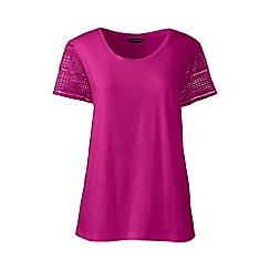 Lands' End - Pink Petite lace sleeve tee