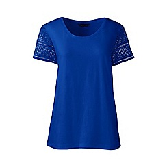 Lands' End - Blue Petite lace sleeve tee