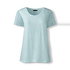 Lands' End - White Petite lace sleeve tee