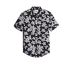 Lands' End - Black floral short sleeve poplin shirt