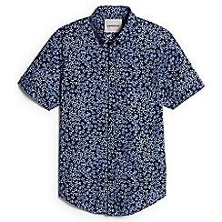 Lands' End - Blue floral short sleeve poplin shirt