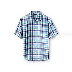 Lands' End - Blue regular patterned short sleeve linen shirt