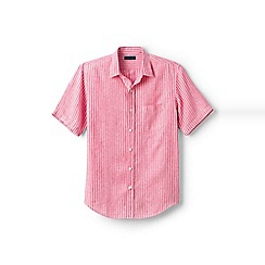 Lands' End - Pink regular patterned short sleeve linen shirt