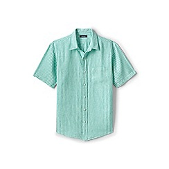 Lands' End - Green regular patterned short sleeve linen shirt