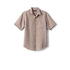 Lands' End - Brown regular short sleeve linen shirt
