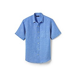 Lands' End - Blue regular short sleeve linen shirt