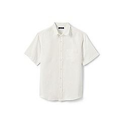Lands' End - Cream regular short sleeve linen shirt