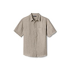 Lands' End - Beige regular short sleeve linen shirt