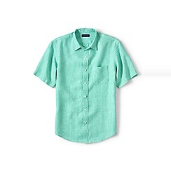 Lands' End - Green regular short sleeve linen shirt