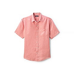 Lands' End - Orange regular short sleeve linen shirt