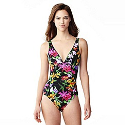 Lands' End - Black veranda floral v-neck swimsuit