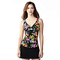 Lands' End - Black veranda floral v-neck tankini top