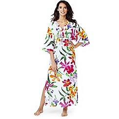 Lands' End - Multi silk blend veranda floral maxi kaftan
