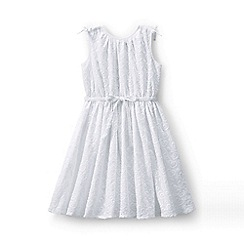 Lands' End - White girls' broderie anglaise twirl dress
