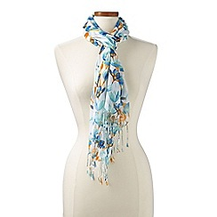 Lands' End - Blue teal floral scarf