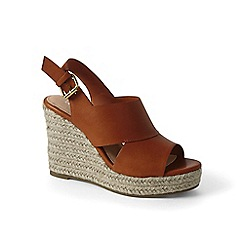Lands' End - Brown leather wedge sandals