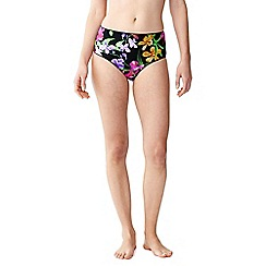 Lands' End - Black veranda floral retro high waist bikini bottoms