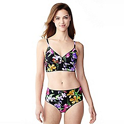 Lands' End - Black veranda floral triangle midkini top
