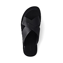 Lands' End - Black cross-strap leather sandals