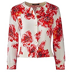 Lands' End - Red petite supima fitted floral cardigan