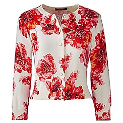 Lands' End - Red tall supima fitted floral cardigan