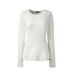 Lands' End - Cream thermaskin heat natural crew neck