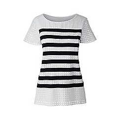 Lands' End - White regular striped lace tee