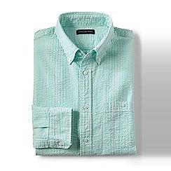 Lands' End - Green regular long sleeve seersucker shirt