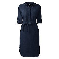 Lands' End - Blue regular linen shirtdress