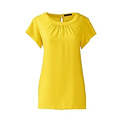 Lands' End - Yellow regular short sleeve ruched neck blouse