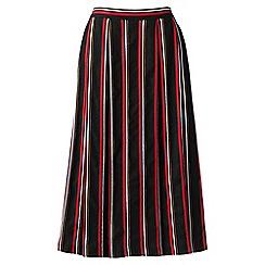 Lands' End - Red regular cotton/linen stripe midi skirt