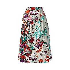 Lands' End - White stretch poplin print midi skirt