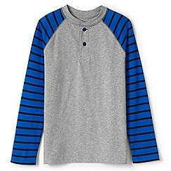 Lands' End - Boys' grey stripe sleeve henley
