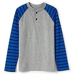 Lands' End - Boys' grey stripe sleeve henley