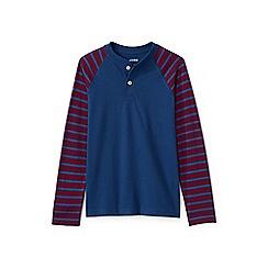 Lands' End - Boy's blue stripe sleeve henley