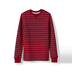 Lands' End - Red boys' striped waffle crew neck tee