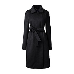 Lands' End - Black wool blend wrap coat