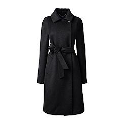 Lands' End - Black wool blend wrap coat