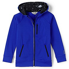 Lands' End - Boys' blue zip front tricot hoodie