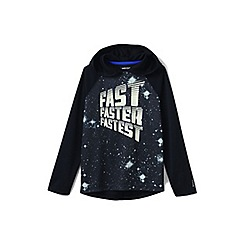 Lands' End - Boys' black long sleeve graphic hooded active tee