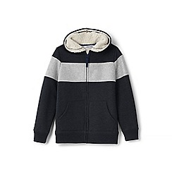 Lands' End - Boys' toddler grey colourblock sherpa-lined hoodie