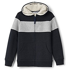 Lands' End - Grey boys' colourblock sherpa-lined hoodie