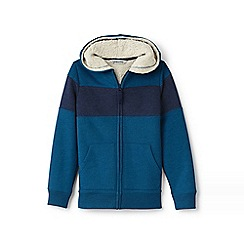 Lands' End - Blue boys' colourblock sherpa-lined hoodie