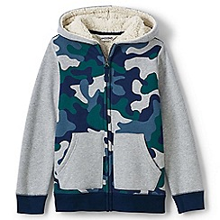 Lands' End - Boys' toddler multi print colourblock sherpa hoodie