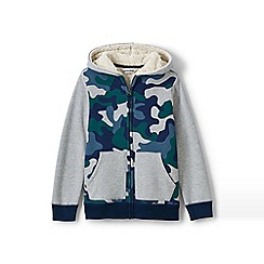 Lands' End - Boys' multi print colourblock sherpa hoodie