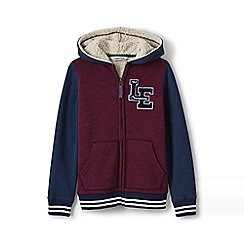 Lands' End - Boys' toddler red varsity sherpa-lined hoodie