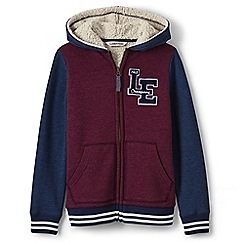 Lands' End - Red boys' varsity sherpa-lined hoodie