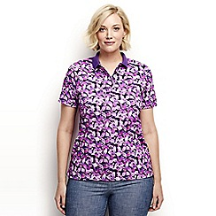 Lands' End - Black Plus Size printed detailed collar polo