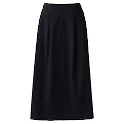 Lands' End - Black Plus Size stretch poplin midi skirt